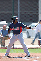 Jesus Aguilar #33 of the Cleveland Indians bats during a Minor League Spring Training Game against the Cincinnati Reds at the Cincinnati Reds Spring Training Complex on March 25, 2014 in Goodyear, Arizona. (Larry Goren/Four Seam Images)