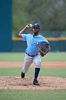Tampa Bay Rays relief pitcher Willy Ortiz (71) delivers a pitch during an Instructional League game against the Pittsburgh Pirates on October 3, 2017 at Pirate City in Bradenton, Florida.  (Mike Janes/Four Seam Images)