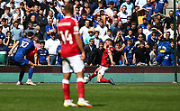 28th August 2021; Cardiff City Stadium, Cardiff, Wales;  EFL Championship football, Cardiff versus Bristol City; Kieffer Moore of Cardiff City shoots to score the equalizer to make it 1-1 in the second half