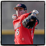 Starting pitcher Ryan Kirk (15) of the North Greenville Crusaders delivers a pitch in a game against the Palm Beach Atlantic Sailfish on Monday, February 25, 2019, at Ashmore Park in Tigerville, South Carolina. Palm Beach won, 7-5. (Tom Priddy/Four Seam Images)