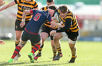 Monday 27th February 2017 | ULSTER SCHOOLS CUP SEMI-FINAL<br /> <br /> Callum Reid is tackled by Chris McLeister during the Ulster Schools Cup Semi-Final between RBAI and Ballymena Academy  at Kingspan Stadium, Ravenhill Park, Belfast, Northern Ireland. <br /> <br /> Photograph by John Dickson | www.dicksondigital.com