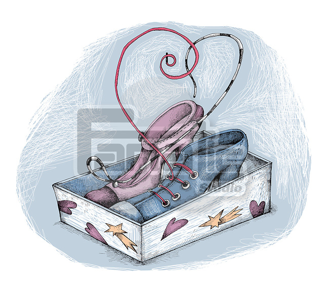 Illustration of shoes in container over white background
