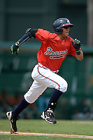 Atlanta Braves catcher Alejandro Flores (12) during an Instructional League game against the Houston Astros on September 22, 2014 at the ESPN Wide World of Sports Complex in Kissimmee, Florida.  (Mike Janes/Four Seam Images)