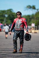 Aug 18, 2019; Brainerd, MN, USA; NHRA top fuel nitro Harley Davidson motorcycle rider Randal Andras during the Lucas Oil Nationals at Brainerd International Raceway. Mandatory Credit: Mark J. Rebilas-USA TODAY Sports