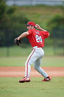Philadelphia Phillies Austin Listi (24) during an Instructional League game against the Toronto Blue Jays on September 30, 2017 at the Carpenter Complex in Clearwater, Florida.  (Mike Janes/Four Seam Images)