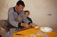 Dades Gorge, Morocco - Berber Father, Daughter, Bread and Butter.
