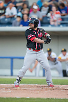 Brian Burgamy (9) of the New Jersey Jackals at bat against the Sussex County Miners at Skylands Stadium on July 29, 2017 in Augusta, New Jersey.  The Miners defeated the Jackals 7-0.  (Brian Westerholt/Four Seam Images)