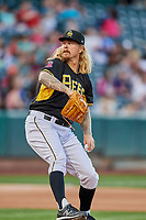 Salt Lake Bees starting pitcher John Lamb (24) delivers a pitch to the plate against the Sacramento River Cats at Smith's Ballpark on May 17, 2018 in Salt Lake City, Utah. Salt Lake defeated Sacramento 12-11. (Stephen Smith/Four Seam Images)