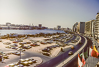 Dubai 1984, United Arab Emirates.  Corniche alongside The Creek, Hotels and Office Buildings to the Right.