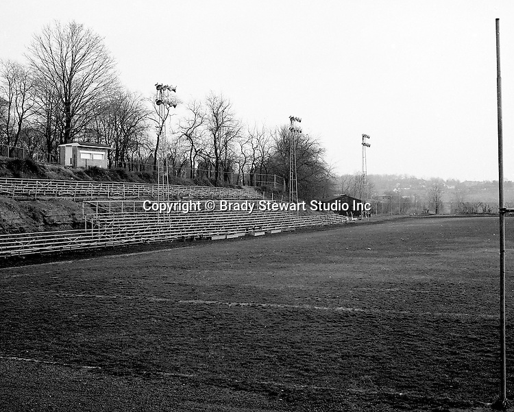 Bethel Park PA: View of the Bethel Park High School football field. The field, lights, and stands were not good for a AA football program. The field was bad, uneven playing surface and the middle of the field always burned out and was all mud if it rained and a dustbowl when it didn't.