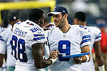 Dallas Cowboys quarterback Tony Romo (9) and Dallas Cowboys wide receiver Dez Bryant (88) in action during the pre-season game between the Baltimore Ravens and the Dallas Cowboys at the AT & T stadium in Arlington, Texas. Baltimore defeats Dallas  37-30.