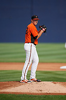 Frederick Keys starting pitcher Zac Lowther (24) gets ready to deliver a pitch during the first game of a doubleheader against the Lynchburg Hillcats on June 13, 2018 at Nymeo Field at Harry Grove Stadium in Frederick, Maryland.  Frederick defeated Lynchburg 3-0.  (Mike Janes/Four Seam Images)
