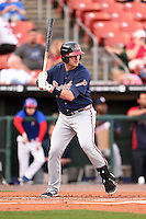 Gwinnett Braves first baseman Joey Terdoslavich (7) at bat during a game against the Buffalo Bisons on May 13, 2014 at Coca-Cola Field in Buffalo, New  York.  Gwinnett defeated Buffalo 3-2.  (Mike Janes/Four Seam Images)
