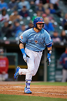 Buffalo Bisons designated hitter Jarrod Saltalamacchia (40) runs to first base during a game against the Pawtucket Red Sox on May 19, 2017 at Coca-Cola Field in Buffalo, New York.  Buffalo defeated Pawtucket 7-5 in thirteen innings.  (Mike Janes/Four Seam Images)