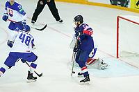 23rd May 2021, Riga Olympic Sports Centre Latvia; 2021 IIHF Ice hockey, Eishockey World Championship, Great Britain versus Slovakia; 21 Mike Hammond Great Britain tries a deflection shot on goal