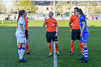 Ellen Martens (2) of Club Brugge , assistant referee Joline Delcroix , assistant referee Niels DHaene , assistant referee Niels DHaene , Silke Vanwynsberghe (21) of AA Gent pictured before a female soccer game between  AA Gent Ladies and Club Brugge YLA on the third matchday of play off 1 in the 2020 - 2021 season of Belgian Scooore Womens Super League , friday 23 th of April 2020  in Oostakker , Belgium . PHOTO SPORTPIX.BE | SPP | STIJN AUDOOREN