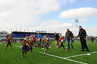 20130303 Copyright onEdition 2013©.Free for editorial use image, please credit: onEdition..Young  players enjoying a tag rugby match on the artificial pitch before the Premiership Rugby match between Saracens and London Welsh at Allianz Park on Sunday 3rd March 2013 (Photo by Rob Munro)..For press contacts contact: Sam Feasey at brandRapport on M: +44 (0)7717 757114 E: SFeasey@brand-rapport.com..If you require a higher resolution image or you have any other onEdition photographic enquiries, please contact onEdition on 0845 900 2 900 or email info@onEdition.com.This image is copyright onEdition 2013©..This image has been supplied by onEdition and must be credited onEdition. The author is asserting his full Moral rights in relation to the publication of this image. Rights for onward transmission of any image or file is not granted or implied. Changing or deleting Copyright information is illegal as specified in the Copyright, Design and Patents Act 1988. If you are in any way unsure of your right to publish this image please contact onEdition on 0845 900 2 900 or email info@onEdition.com