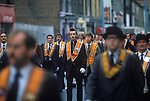 Belfast The Troubles. 1980s. Orange Day parade central Belfast. <br />