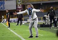 BOGOTÁ- COLOMBIA, 21-08-2021:Alberto Gamero técnico de Millonarios  gesticula durante partido por la fecha 6 entre Millonarios y el Deportivo Independiente Medellín  como parte de la Liga BetPlay DIMAYOR II 2021 jugado en el estadio Nemesio Camacho El Campín de la ciudad de Bogotá. /  Alberto Gamero coach of Millonarios   gestures during Match for the date 6 between Millonarios and Deportivo Independiente Medellin   as part of the BetPlay DIMAYOR League II 2021 played at Nemesio Camacho El Campin   stadium in Bogota city. Photo: VizzorImage / Felipe Caicedo / Staff
