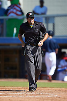 Home plate umpire Justin Juska during the Appalachian League game between the Bristol Pirates and the Danville Braves at American Legion Post 325 Field on July 1, 2018 in Danville, Virginia. The Braves defeated the Pirates 3-2 in 10 innings. (Brian Westerholt/Four Seam Images)