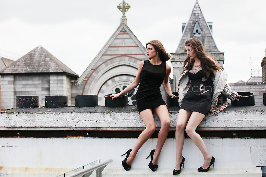 5/8/2010. BT2 AUTUMN WINTER COLLECTION. Models Naoise Tan is pictured wearing a Gestuz Velvet sweetheart dress with sheer panel 80 EURO and Jennifer Foley is pictured wearing a Lispey Jacket 125 EURO and Lipsey Dress 72 EURO on the roof top of the BT2 corporate offices in Dublin at the preview of the BT2 Autumn winter collection. Picture James Horan/Collins