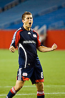 New England Revolution defender Chris Tierney (8) celebrates scoring during the penalty kick shootout. The New England Revolution defeated the Houston Dynamo 2-2 (6-5) in penalty kicks in the SuperLiga finals at Gillette Stadium in Foxborough, MA, on August 5, 2008.