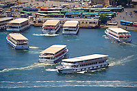 Ferries in the Golden Horn by the Galata Bridge, Istanbul Turkey