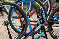13 SEP 2014 - IPSWICH, GBR - Bikes stand ready in the pits during the 2014 British Open Club Cycle Speedway Championships at Whitton Sports & Community Centre in Ipswich, Great Britain (PHOTO COPYRIGHT © 2014 NIGEL FARROW, ALL RIGHTS RESERVED)
