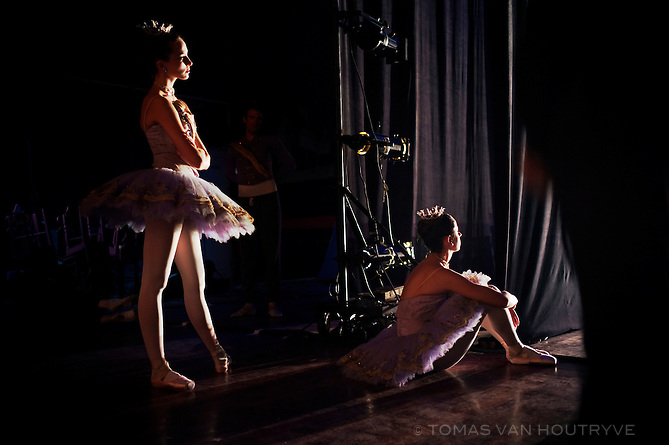 Ballerinas of the American Ballet Theater watch the performance from the wings of the stage during rehearsals at the Karl Marx theater in Havana, Cuba on Nov. 2, 2010.