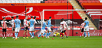 31st October 2020; Bramall Lane, Sheffield, Yorkshire, England; English Premier League Football, Sheffield United versus Manchester City; Sheffield United Goalkeeper Aaron Ramsdale goes down to hold the ball after a free kick from Kevin De Bruyne of Manchester City