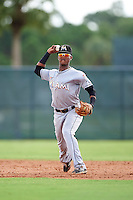 GCL Marlins shortstop Marcos Rivera (10) throws to first during the first game of a doubleheader against the GCL Cardinals on August 13, 2016 at Roger Dean Complex in Jupiter, Florida.  GCL Cardinals defeated GCL Marlins 4-2 in a continuation of a game originally started on August 8th.  (Mike Janes/Four Seam Images)
