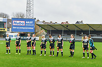 line-up team Aalst ( Niekie Pellens (41) of Eendracht Aalst , Margaux Van Ackere (37) of Eendracht Aalst , Loes Van Mullem (33) of Eendracht Aalst , Daisy Baudewijns (30) of Eendracht Aalst , Stephanie Van Gils (27) of Eendracht Aalst , Justine Blave (22) of Eendracht Aalst , Annelies Van Loock (9) of Eendracht Aalst , Valentine Hannecart (8) of Eendracht Aalst , Anke Vanhooren (7) of Eendracht Aalst , Goalkeeper Silke Baccarne (1) of Eendracht Aalst , Chloe Van Mingeroet (17) of Eendracht Aalst ) pictured before a female soccer game between Eendracht Aalst and OHL on the 13 th matchday of the 2020 - 2021 season of Belgian Scooore Womens Super League , Saturday 6 th of February 2021  in Aalst , Belgium . PHOTO SPORTPIX.BE   SPP   STIJN AUDOOREN