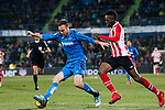 Juan Torres Ruiz, Cala, of Getafe CF (L) fights for the ball with Inaki Williams Arthuer of Athletic Club de Bilbao (R) during the La Liga 2017-18 match between Getafe CF and Athletic Club at Coliseum Alfonso Perez on 19 January 2018 in Madrid, Spain. Photo by Diego Gonzalez / Power Sport Images