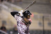 Micker Adolfo (27) of the Kannapolis Intimidators at bat against the Hickory Crawdads in game two of a double-header at Kannapolis Intimidators Stadium on May 19, 2017 in Kannapolis, North Carolina.  The Intimidators defeated the Crawdads 9-1.  (Brian Westerholt/Four Seam Images)