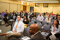 Representatives of various employers including Bank of America, Uber, GE, and others, listen to a presentation about the benefits and requirements of hiring disabled veterans at the Recovering Warrior Employment Conference at the Back Bay Event Center in Boston, Massachusetts, USA. The employment conference was organized by Hiring Our Heroes and Wounded Warrior Project. Hiring Our Heroes is an initiative of the US Chamber of Commerce Foundation. Approximately 40 veterans registered for the event, during which they had interviews with a number of different regional and national employers, including GE, Bank of America, Uber, and others.