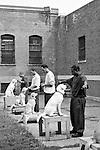 BEACON, NEW YORK:  The prisoners teach their puppies to follow commands in an outdoor courtyard during a Puppies Behind Bars class at Fishkill Correctional Facility. The program prepares puppies to be service dogs and consists of one day of class a week on topics such as obedience training, grooming, basic care of the dogs. The rest of the week prisoners keep the dogs with them as they go about their daily routine in the prison and train them on their own.