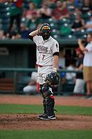 Great Lakes Loons catcher Tre Todd (7) during a Midwest League game against the Clinton LumberKings on July 19, 2019 at Dow Diamond in Midland, Michigan.  Clinton defeated Great Lakes 3-2.  (Mike Janes/Four Seam Images)