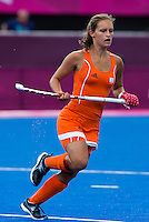 29 JUL 2012 - LONDON, GBR - Kelly Jonker (NED) of Netherlands watches play during the women's London 2012 Olympic Games Preliminary round hockey match against Belgium at the Riverbank Arena in the Olympic Park in Stratford, London, Great Britain .(PHOTO (C) 2012 NIGEL FARROW)