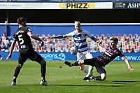 24th April 2021; The Kiyan Prince Foundation Stadium, London, England; English Football League Championship Football, Queen Park Rangers versus Norwich; Lyndon Dykes of Queens Park Rangers competes with Jacob Lungi Sorensen of Norwich City