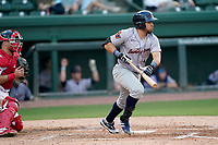 Second baseman Jonathan Aranda (8) of the Greenville Drive during a game against the Bowling Green Hot Rods on Wednesday, May 5, 2021, at Fluor Field at the West End in Greenville, South Carolina. The catcher is Kyle Cottam (9). (Tom Priddy/Four Seam Images)