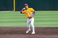LSU Tigers shortstop Jordan Thompson (13) makes a throw to first base against the Tennessee Volunteers on Robert M. Lindsay Field at Lindsey Nelson Stadium on March 28, 2021, in Knoxville, Tennessee. (Danny Parker/Four Seam Images)