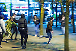© Joel Goodman - 07973 332324 . 07/04/2017 . Manchester , UK . 1st in a sequence . A fight breaks out in Piccadilly Gardens . Greater Manchester Police have authorised dispersal powers and say they will ban people from the city centre for 48 hours , this evening (7th April 2017) , in order to tackle alcohol and spice abuse . Photo credit : Joel Goodman