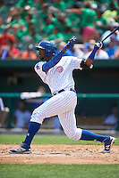 South Bend Cubs left fielder Eloy Jimenez (27) at bat during the first game of a doubleheader against the Peoria Chiefs on July 25, 2016 at Four Winds Field in South Bend, Indiana.  South Bend defeated Peoria 9-8.  (Mike Janes/Four Seam Images)
