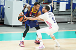 Real Madrid Baloncesto's Rudy Fernandez (r) and FC Barcelona's Cory Higgins during Liga Endesa ACB 1st Final match. June 13,2021. (ALTERPHOTOS/Acero)