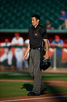 Umpire Jae-Young Kim during a Midwest League game betwee the Burlington Bees ad Lansing Lugnuts on July 18, 2019 at Cooley Law School Stadium in Lansing, Michigan.  Lansing defeated Burlington 5-4.  (Mike Janes/Four Seam Images)