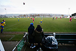 Pickering fans watch Stocksbridge take a throw in. Stocksbridge Park Steels v Pickering Town, Evo-Stik East Division, 17th November 2018. Stocksbridge Park Steels were born from the works team of the local British Steel plant that dominates the town north of Sheffield.<br /> Having missed out on promotion via the play offs in the previous season, Stocksbridge were hovering above the relegation zone in Northern Premier League Division One East, as they lost 0-2 to Pickering Town. Stocksbridge finished the season in 13th place.