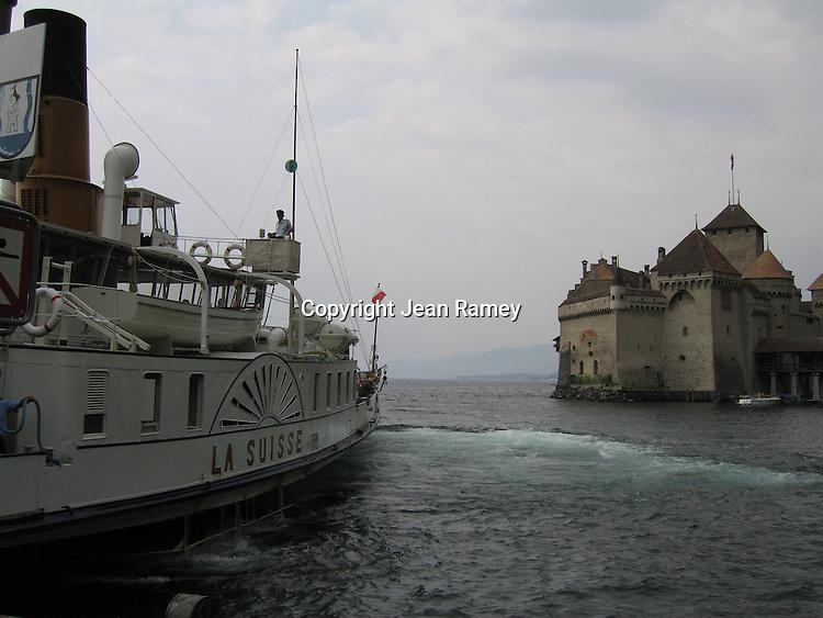 Château de Chillon and Lake Geneva steamboat