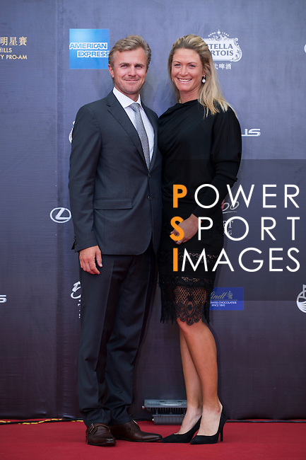 Suzann Pettersen and her boyfriend Christian walk the Red Carpet event at the World Celebrity Pro-Am 2016 Mission Hills China Golf Tournament on 20 October 2016, in Haikou, China. Photo by Marcio Machado / Power Sport Images