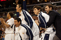 Cal Bench celebrates. The Washington Huskies defeated the California Golden Bears 79-75 during the championship game of the Pacific Life Pac-10 Conference Tournament at Staples Center in Los Angeles, California on March 13th, 2010.