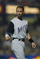 Luis Gonzalez of the Arizona Diamondbacks during a 2003 season MLB game at Dodger Stadium in Los Angeles, California. (Larry Goren/Four Seam Images)